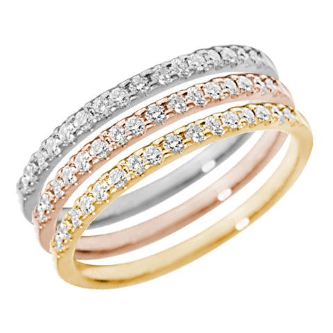 Half Eternity Stackable Diamond Wedding Band