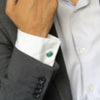 Round Faceted Green Onyx Cufflinks