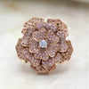 Pink Swarovski Flower Statement Ring