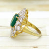 Oval Green Crystal Pear Cut Statement Fine Ring