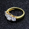 3.5CT Three Stone Round Simulated Diamond Ring
