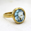 Oval Sky Blue Topaz Single Stone Ring