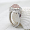 Rose Quartz Fine Halo Ring With CZ 925 Sterling Silver