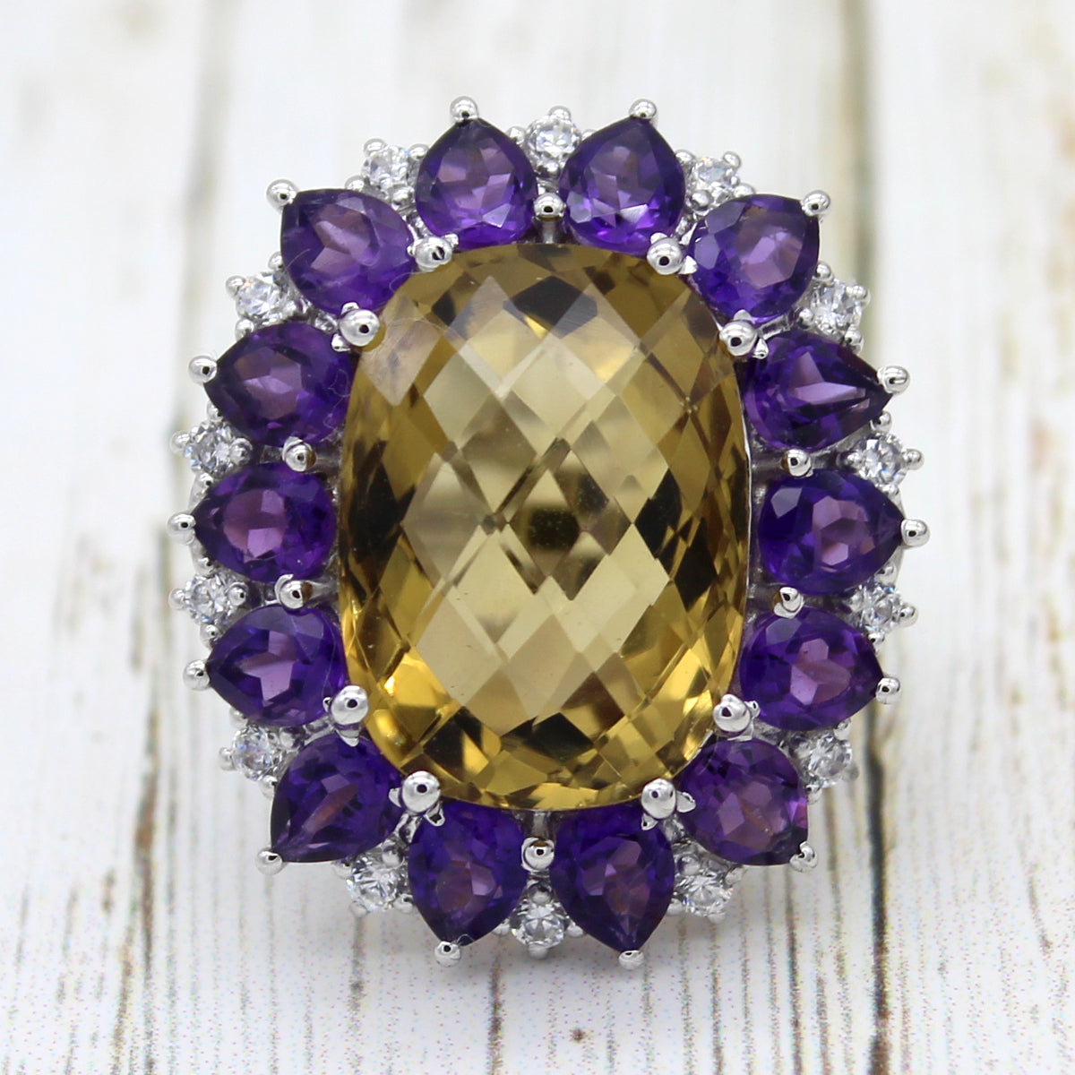 Natural Citrine And Amethyst Birthstone Statement Ring