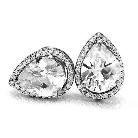 10.84 TCW Pear Simulated Diamond Halo Stud Fine Earrings