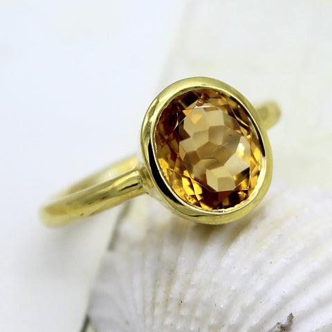 Natural Citrine Single Stone Fine Ring