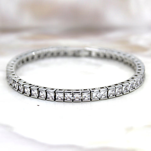 Princess Cut Fine Luxury Simulated Diamond Bracelet 6.5""