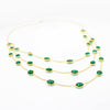 Natural Green Onyx Three Layer Statement Necklace