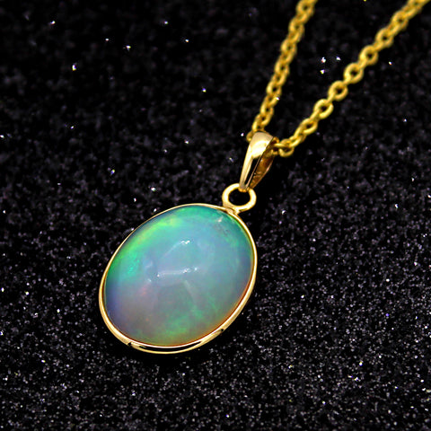 Natural Opal Oval Cabochon Pendant