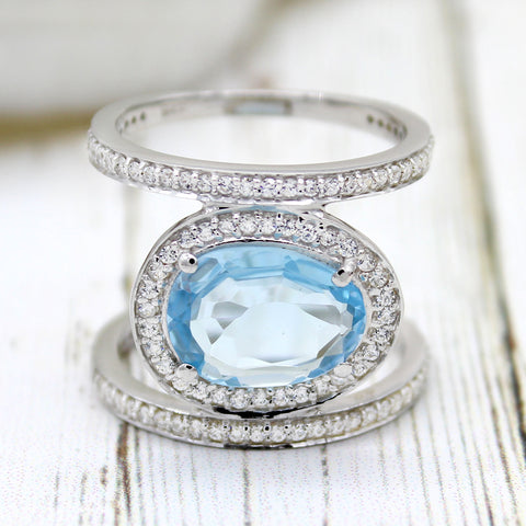 Sky Blue Topaz CZ Double Row Wrap Unique Fine Rings