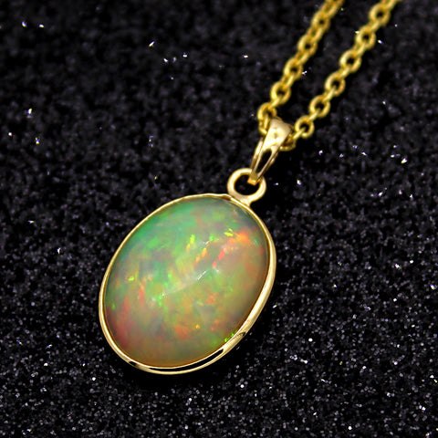 Oval Cabochon Opal Pendant With Free Chain