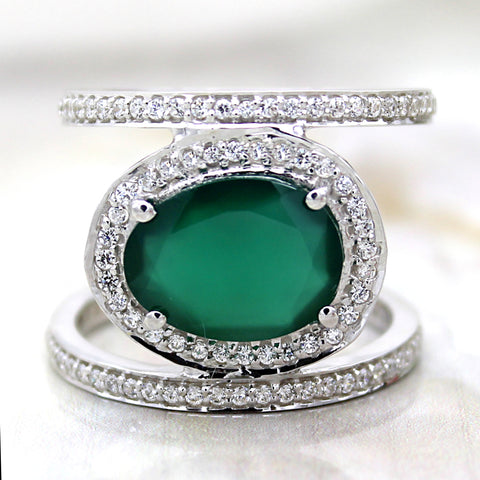 Natural Green Jade Double Row Fine Ring