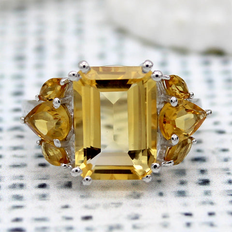 Beautiful Emerald Pear Shape Citrine Statement Rings