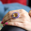 Huge Citrine Amethyst CZ Fine Statement Ring