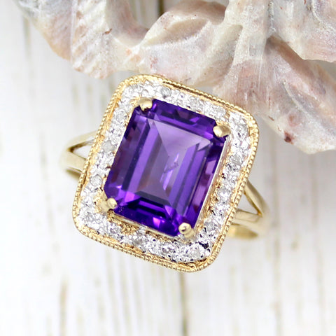 Natural Amethyst Diamond Halo Fine Rings