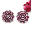 Flower Statement Earrings Invisible Paving/Mystery Set Red Ruby Simulant