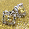Fancy Yellow Cushion Cut Diamond Simulant Two Tone Earring