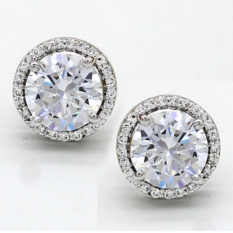 Round Halo Stud Simulated Diamond Earrings