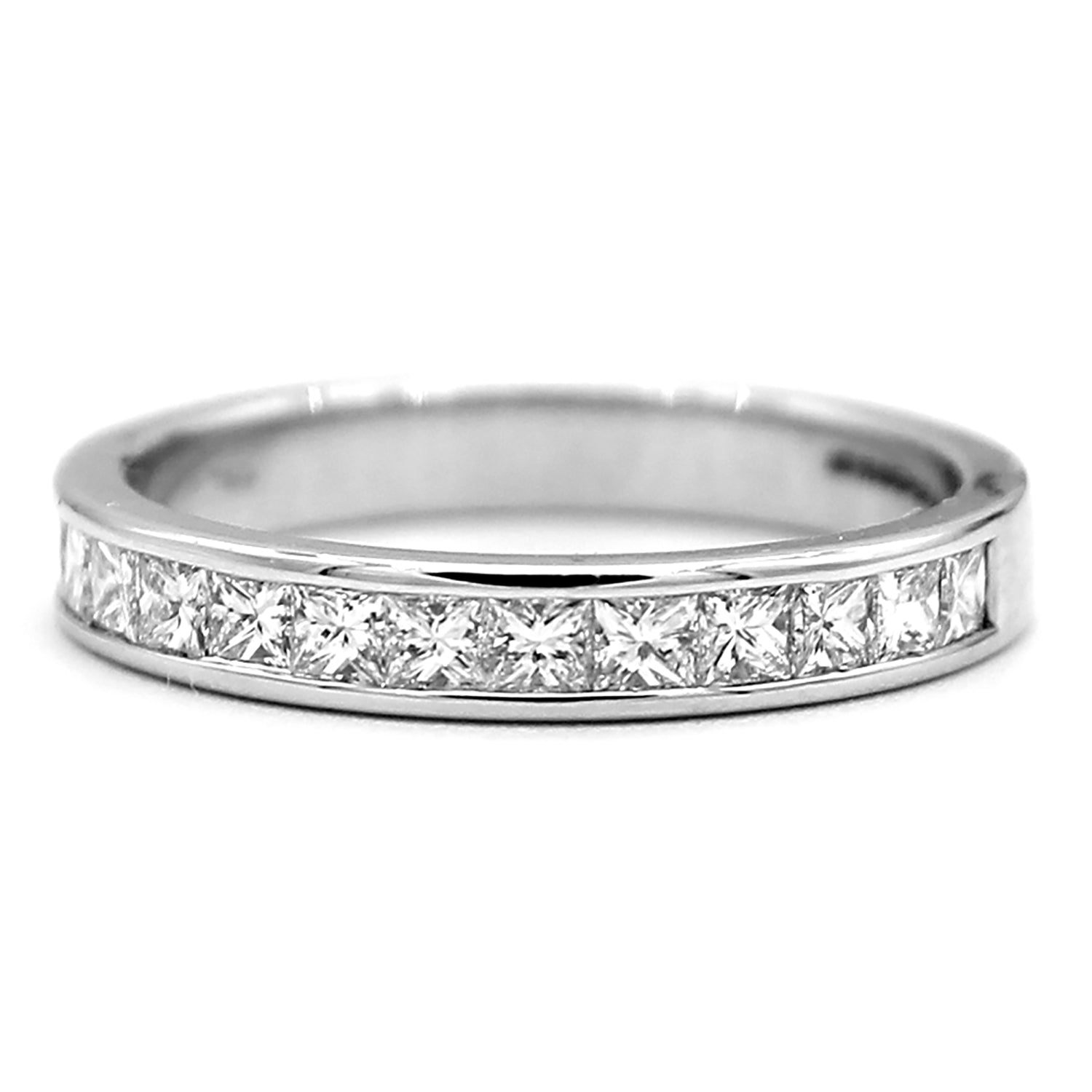 princess diamond five wedding or eternity platinum bands in band anniversary stone cut ring