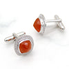 Natural Carnelian & CZ Halo Cufflinks