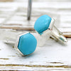 Natural Turquoise Hexagon Cufflinks