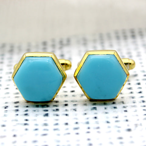 Natural Turquoise Hexagon Gold Plated Cufflinks
