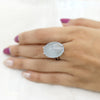 Natural Aquamarine Oval Cabochon Fine Ring