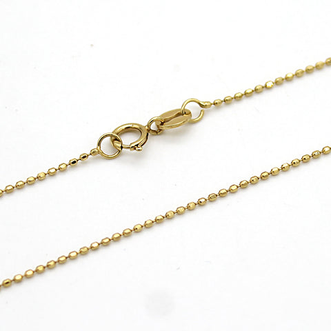 18k Solid Yellow Gold Beaded or Ball Chain