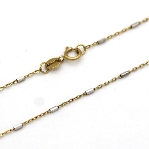 18k Solid Yellow Gold Twin Tone Link Bar Chain
