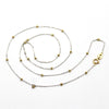 18k Solid White Gold Cable Chain With Solid Yellow Gold Beads