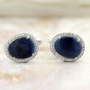 Natural Blue Sapphire Asymmetric Halo Cufflinks