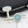Natural Turquoise Round Carved Cufflinks