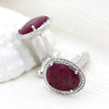 Natural Ruby Asymmetric Halo Cufflinks