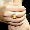 Citrine Oval Cabochon Statement Ring