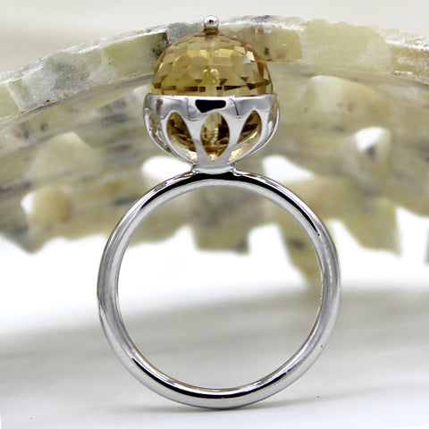 Carved Delicate Citrine Fine Ring
