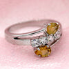 Unique Two Stone Citrine Fine Ring With CZ