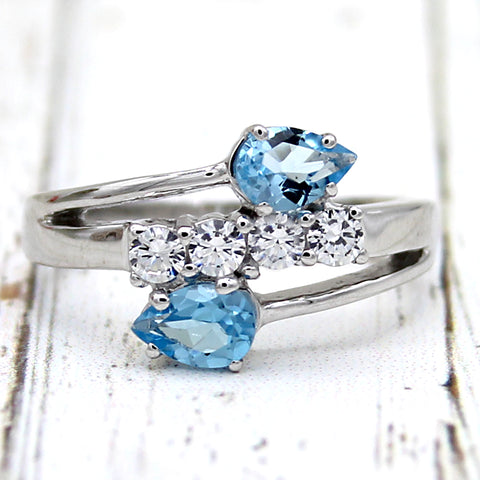 Two Stone Natural Blue Topaz Fine Ring