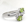 Two Stone Peridot Fine Ring With CZ