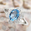 Sky Blue Topaz Flower Fine Ring
