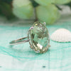 925 Sterling Silver Natural Green Quartz Oval Statement Ring