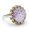 Carved Amethyst Citrine Statement Fine Ring