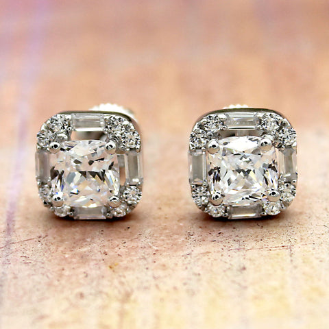 2.5 TCW Cushion Cut Diamond Halo Earrings