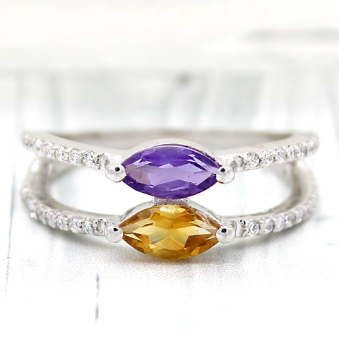 Amethyst Citrine Marquise Shape Fine Ring