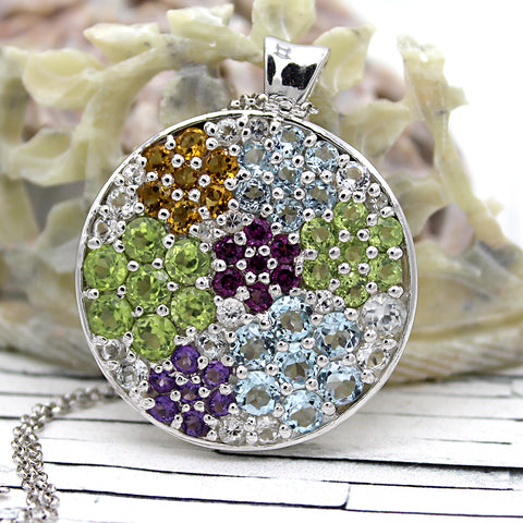 Multi Color Studded Natural Stone Statement Pendants