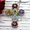 Multi Stone Religious Flower Cross Necklace Pendant
