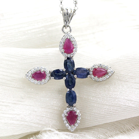 Natural Blue Sapphire & Ruby Religious Pendant