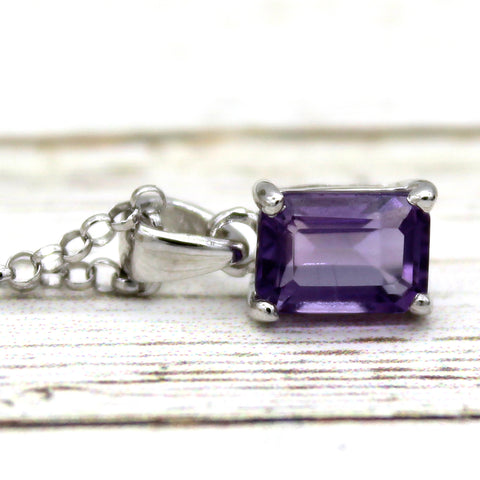 Delicate Emerald Cut Tiny Amethyst Necklace Pendant