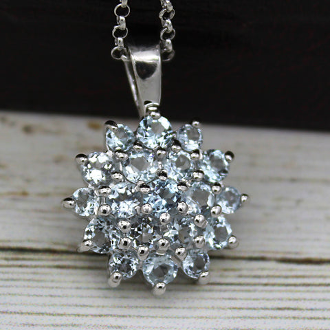 Beautiful Sky Blue Topaz Cluster Necklace Pendant