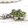Flower Cluster Peridot Fine Necklace Pendant