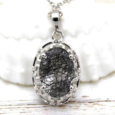 Oval Rutilated Quartz Silver Filigree Work Pendant